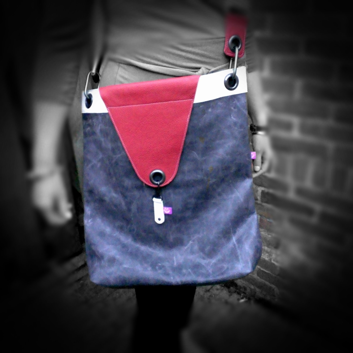Leather Bag Grey, Red and White