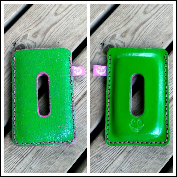 green and pink leather ipod touch sleeve