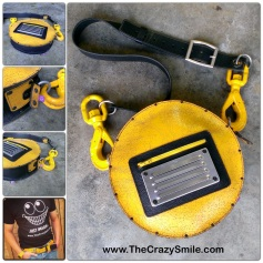 Raw leather bag Yellow and Black