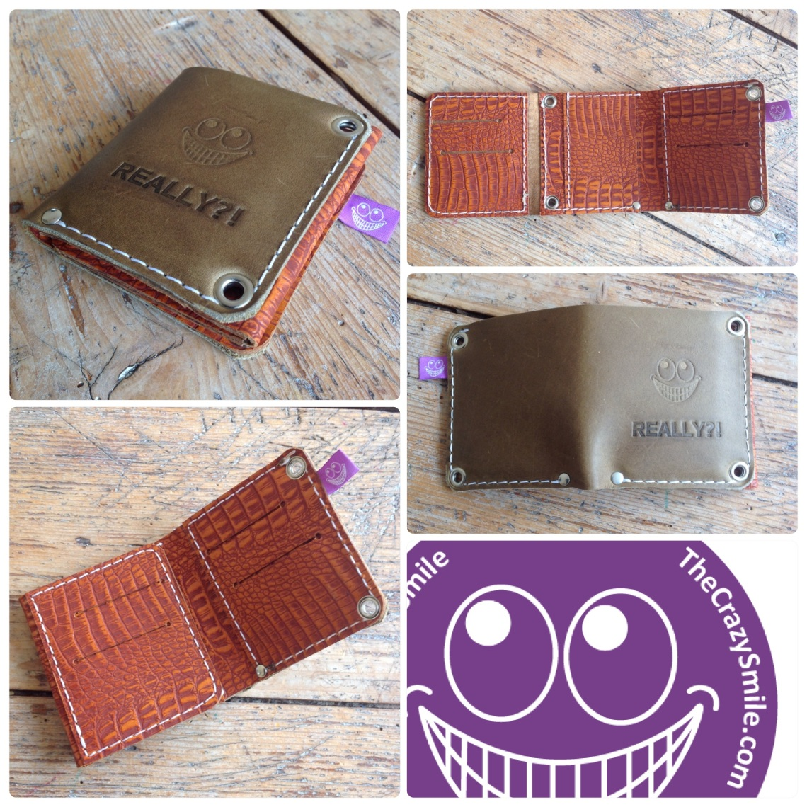 Handmade leather wallet TheCrazySmile