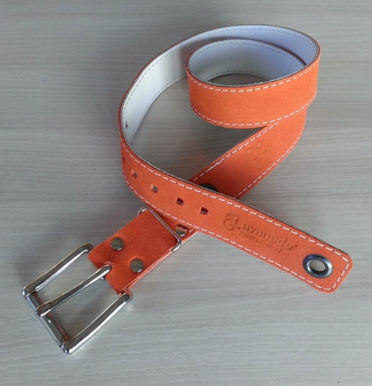 Handmade leather belt with Avanade logo