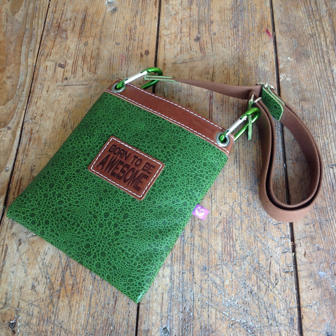 Green leather bag