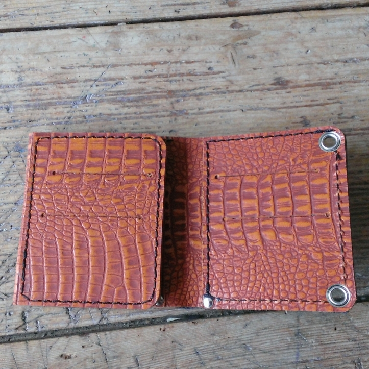 Handmade leather wallet inside