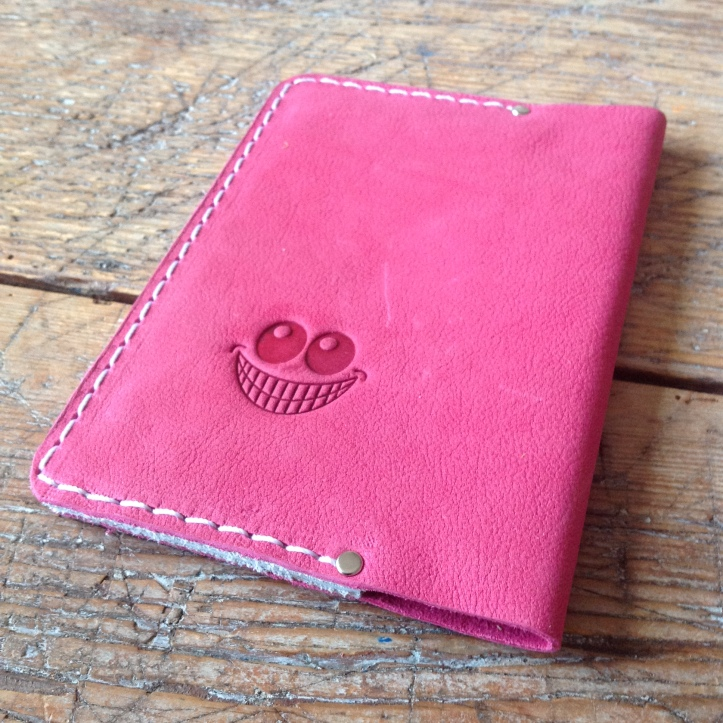 Leather passport cover back