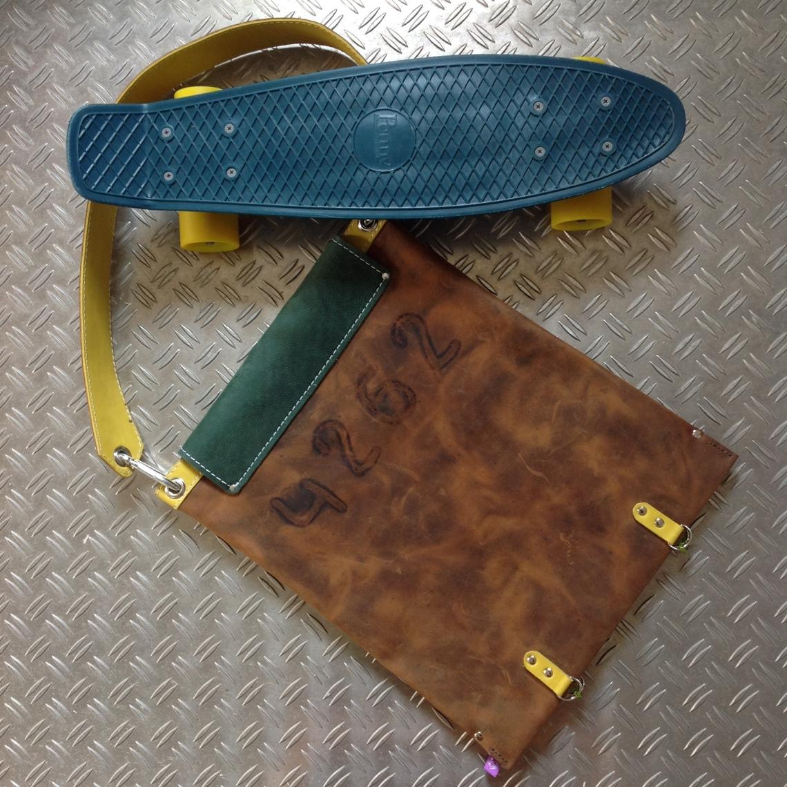 Leather Skatebag back