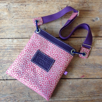 Pink and purple leather bag