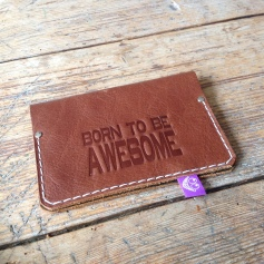 Leather passport cover brown
