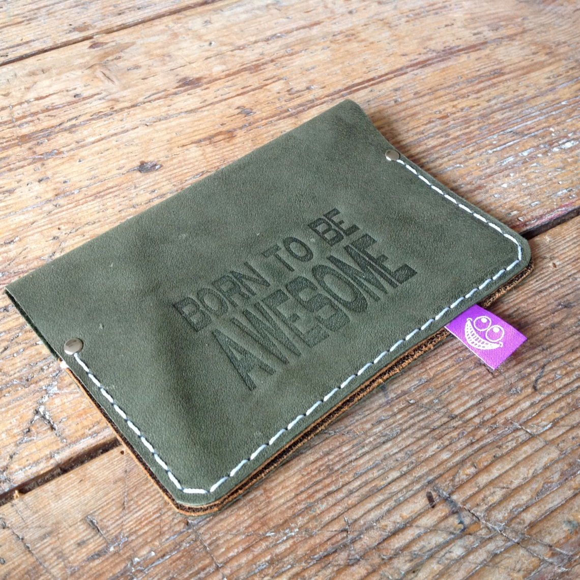 Leather passport cover green