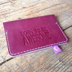 Passport cover leather purple