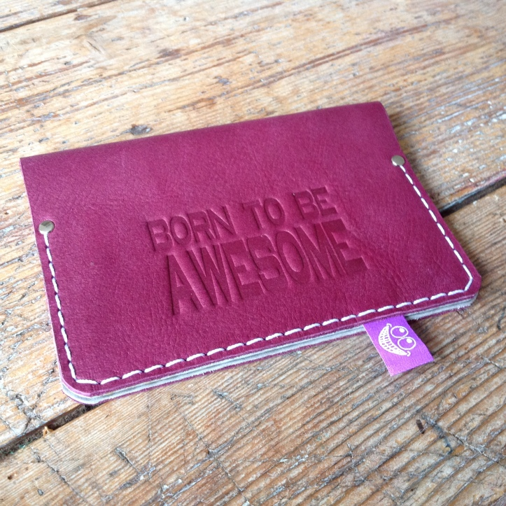 Passport cover leather purple