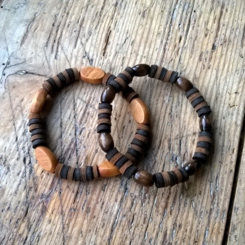 Leather and wood bracelets