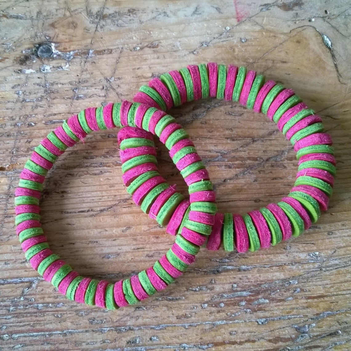 Leather bracelets pink and green