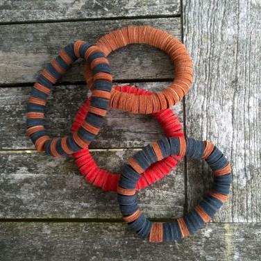 leathet bracelet with handmade beads