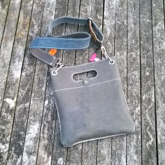 Raw leather bag bacb