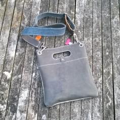 Raw leather bag bacb