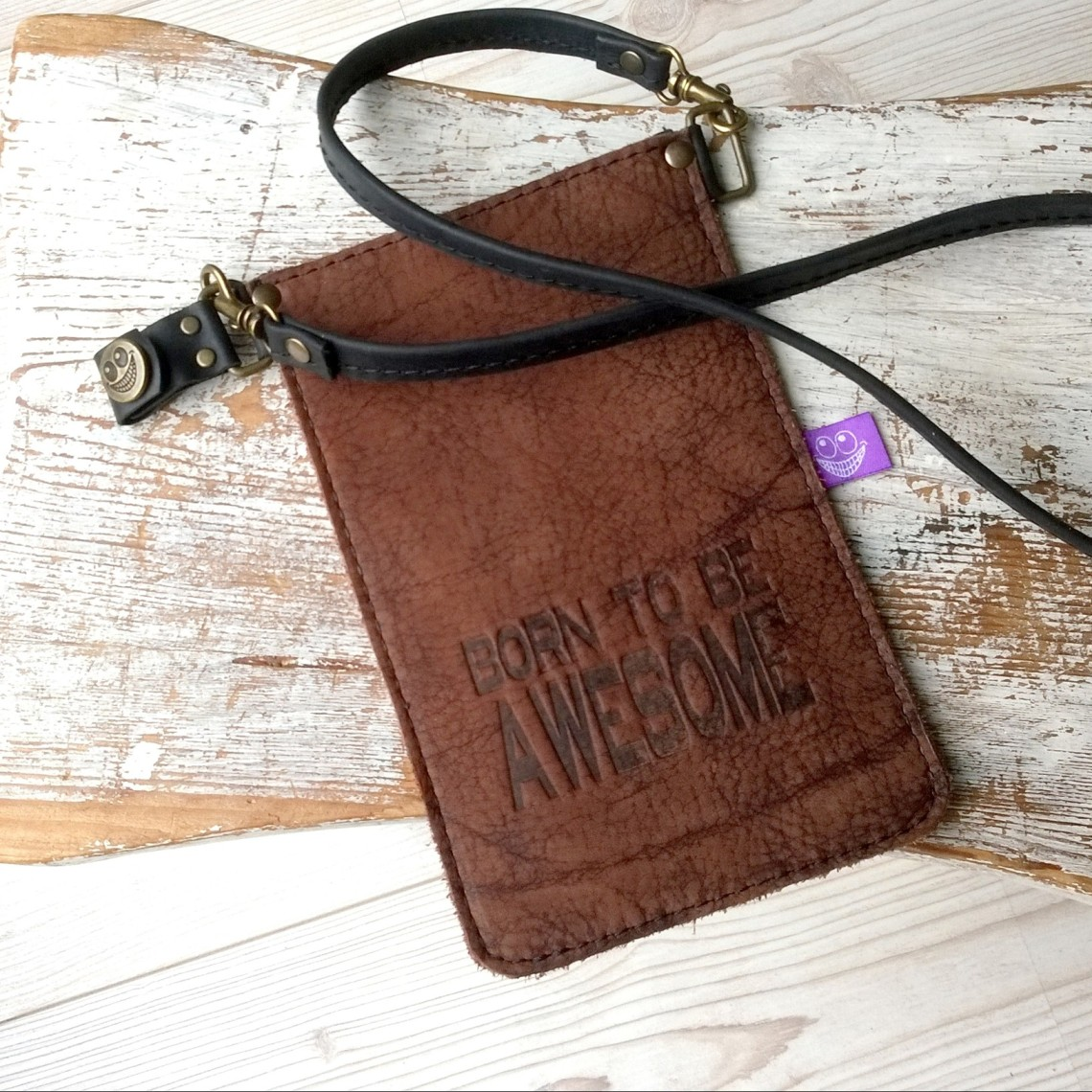 Small leather purse for mobile phone