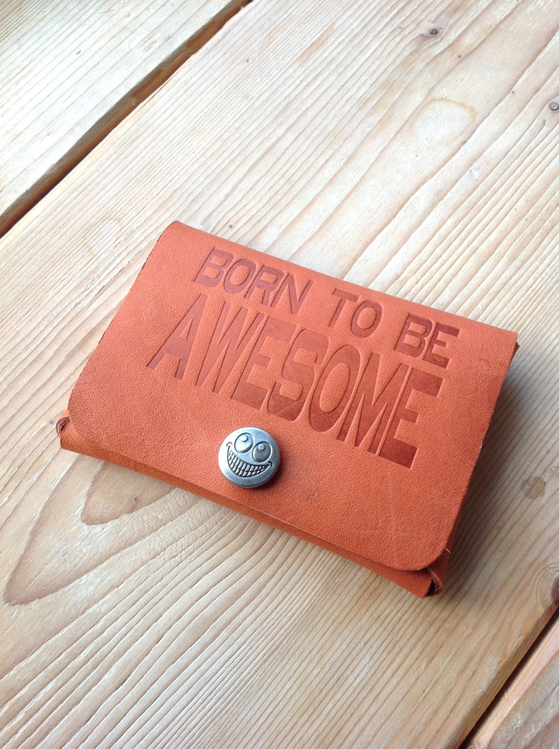 Born to be Awesome leather card holder