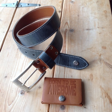 Leather belt and card holder