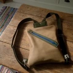 Simple leather backpack