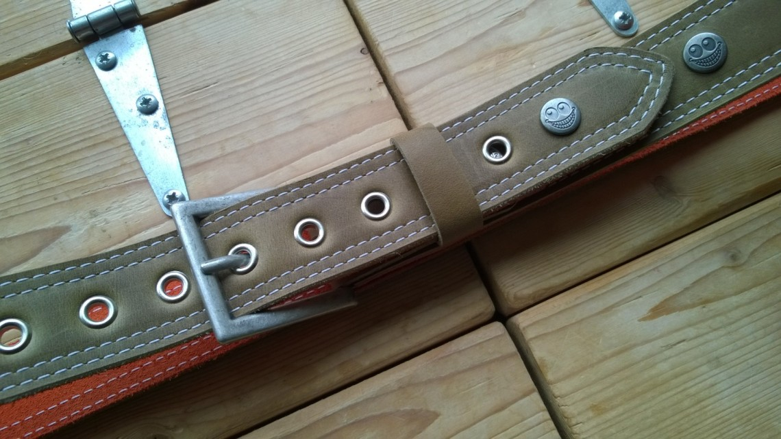 Green leather belt with TheCrazySmile