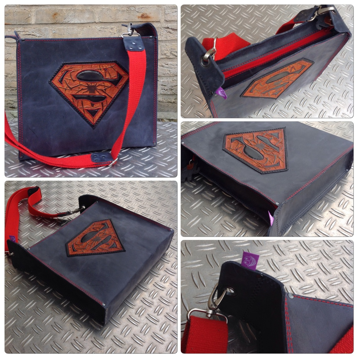Leather bag with Superman Spiderman logo