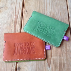 Leather passport cover BorntobeAwesome