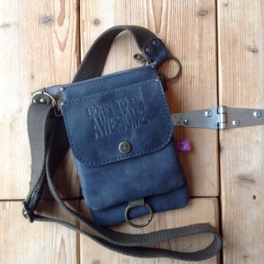 Small grey leather shoulder bag Born to be Awesome