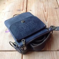 Small grey leather shoulder bag