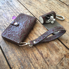 Leather case for phone and earphones