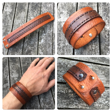 Leather bracelet two tone