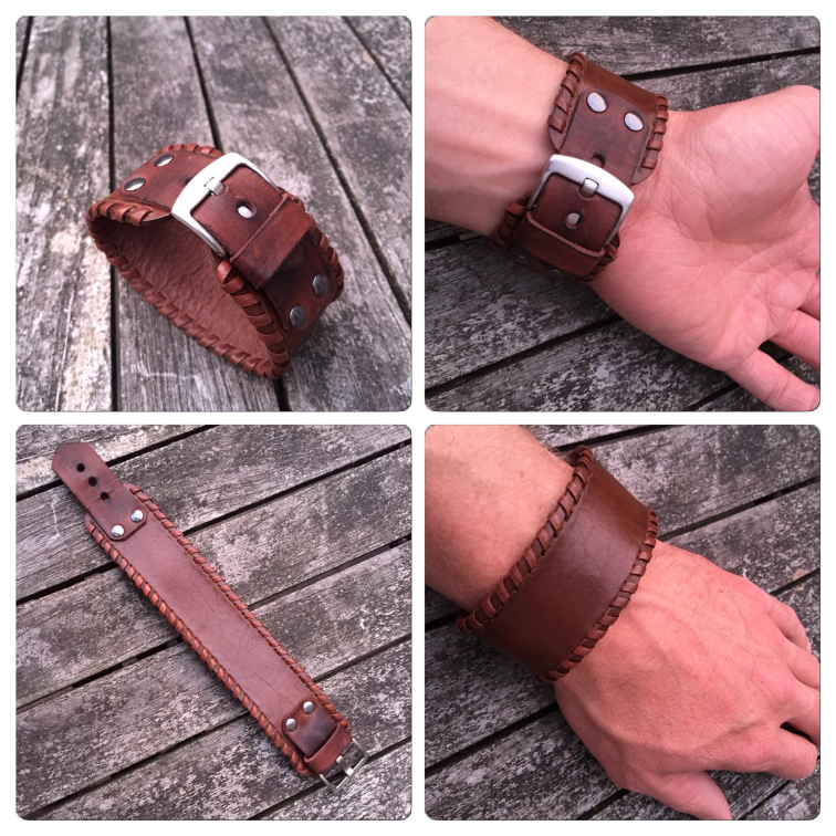 Leather bracelet with buckle