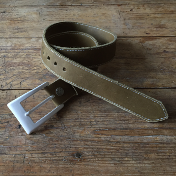 Raw green leather belt with white buckle