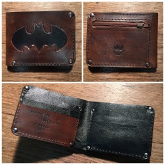 Leather wallet with Batman logo