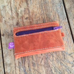 Orange leather wallet back