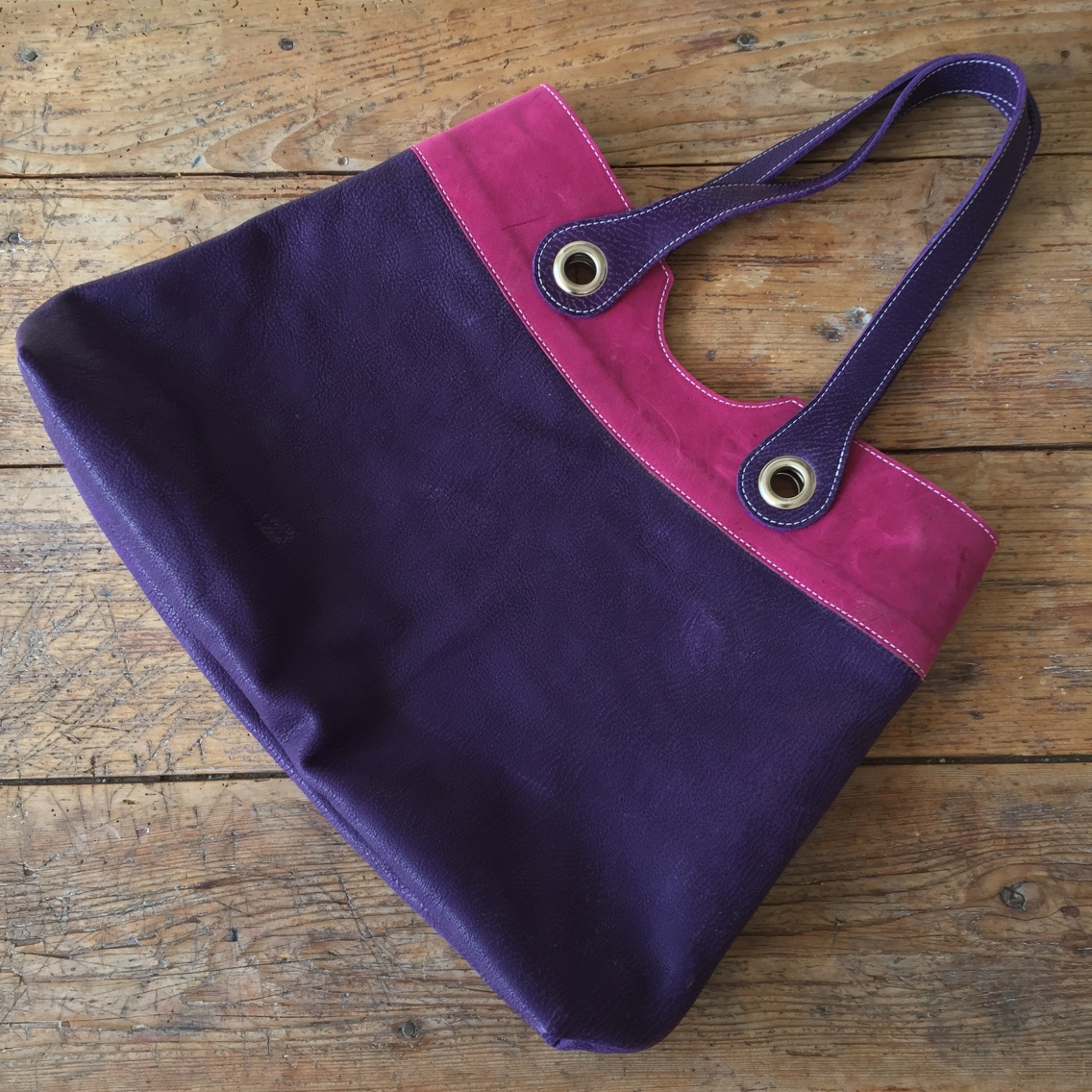 Handmade leather bag purple and pink