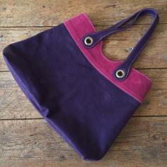 Handmade leather bag purple and pink