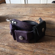 Leather camera strap purple