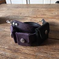 Leather camera strap purple