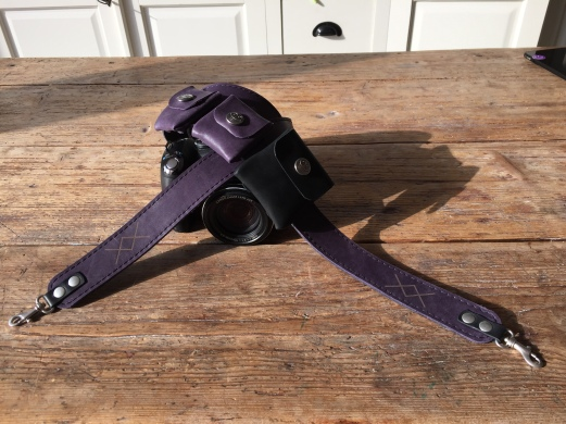 Leather camera strap with logo