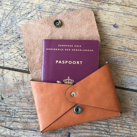 Leather pasport cover with passport