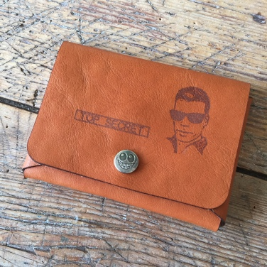 Leather passport cover with photo