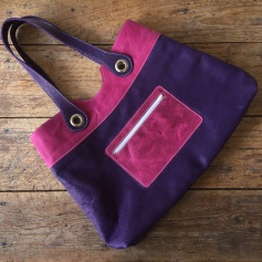 Purple and pink leather bag