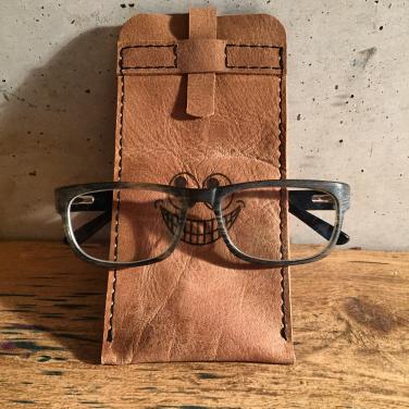 Leather glasses sleeve