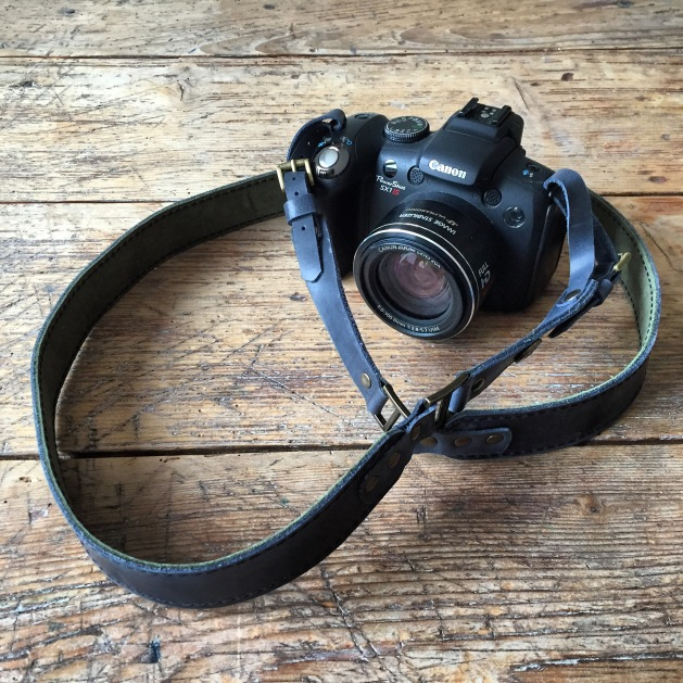 Grey leather Camera strap