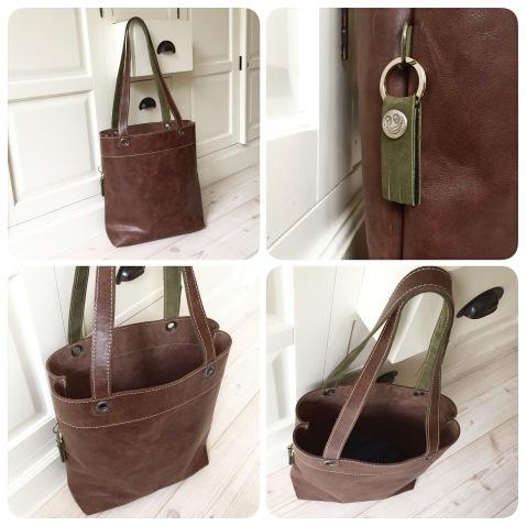 Leather custom brown bag