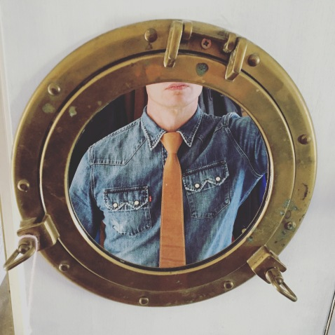 Leather tie on Jeans shirt