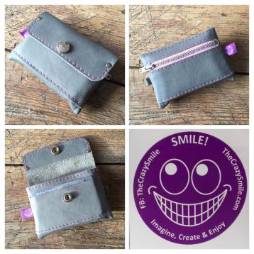 Grey leather wallet TheCrazySmile