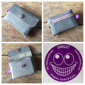 Grey leather wallet TheCrazySmile
