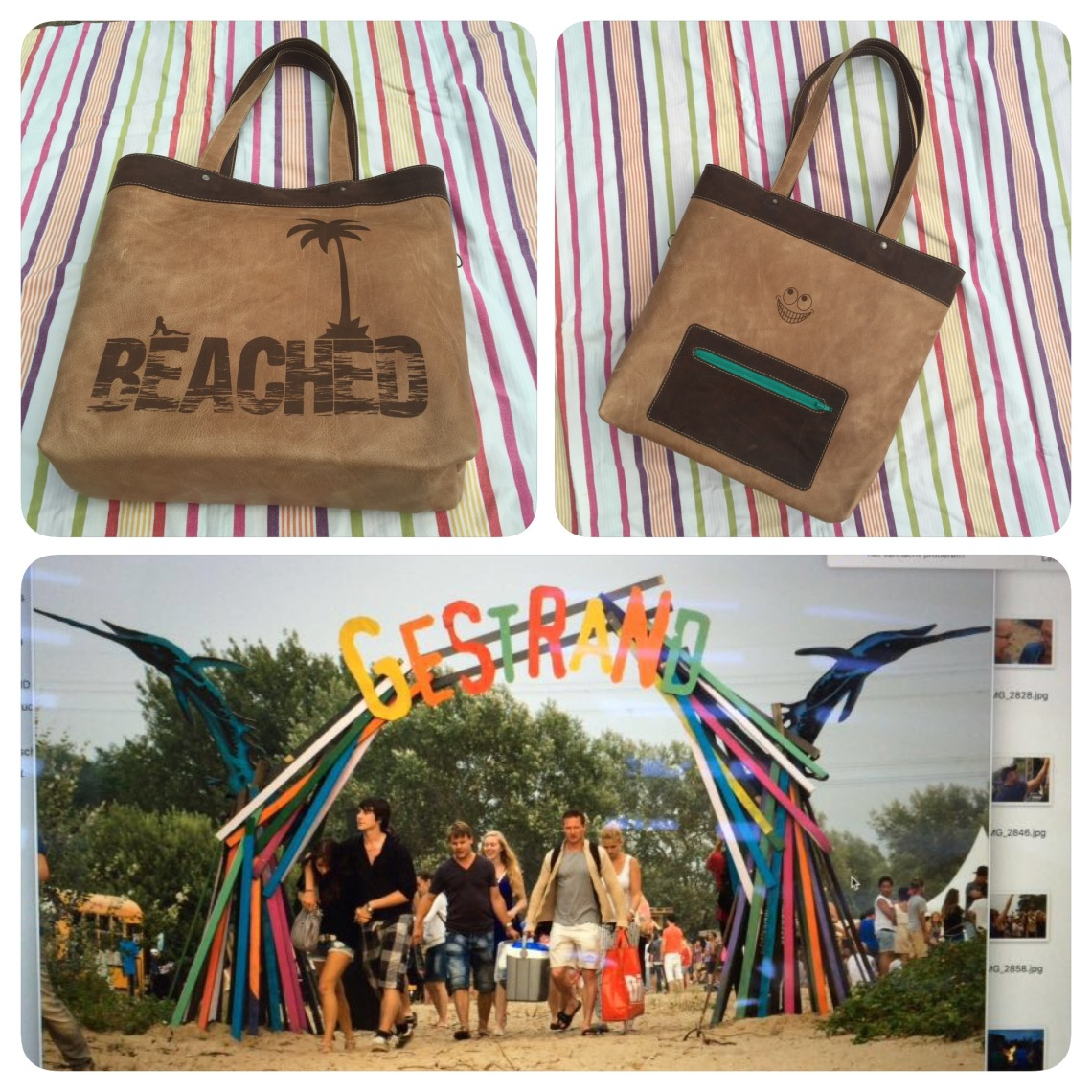 Leather bag beached for event Gestrand