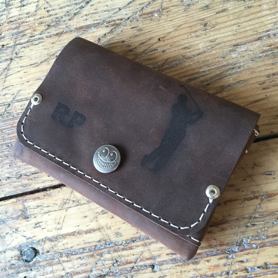 Small Leather wallet with golfer